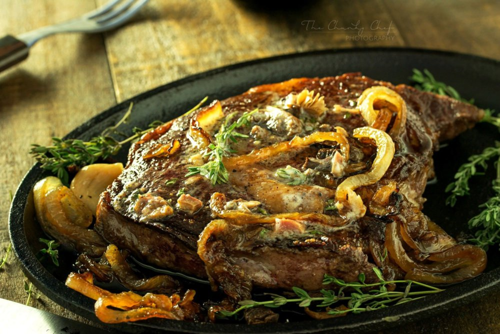 Pan Seared Steak with Porcini and Herb Butter