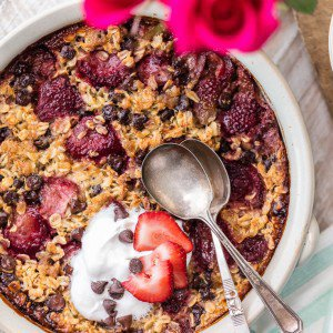 Chocolate Covered Strawberry Baked Oatmeal (Breakfast in Bed for VDay!)