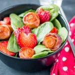 Valentine's Day Salad: Baby Spinach with Bacon Roses and Strawberry Hearts