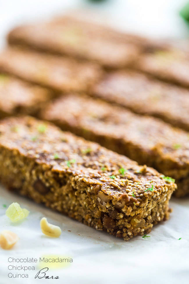 Tropical Quinoa Homemade Protein Bars with White Chocolate + Chickpeas {Gluten Free}