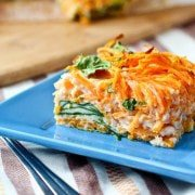 Egg White Breakfast Bake with Spiralized Sweet Potato and Spinach
