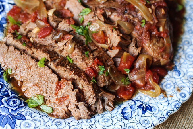 Slow Cooker Beef Brisket with Tomatoes and Onion