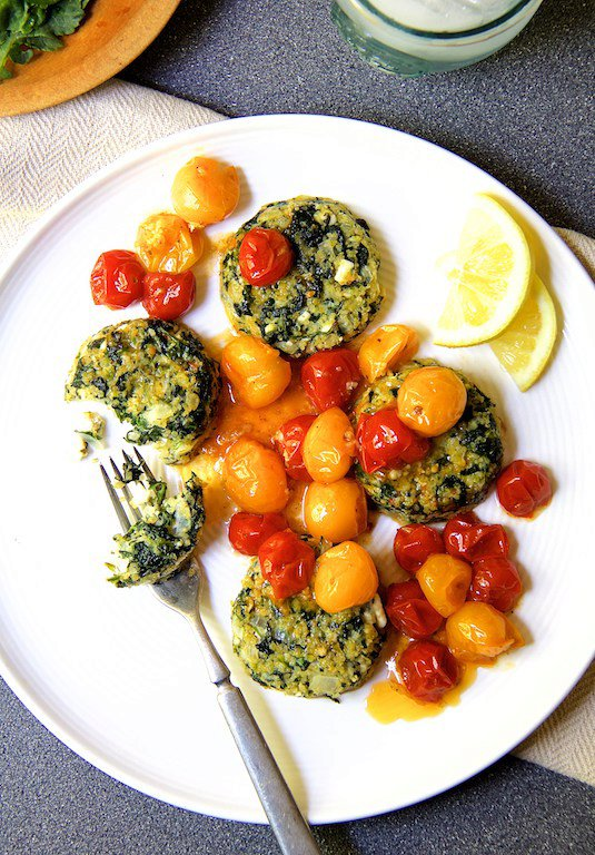Spinach Feta Quinoa Cakes with Roasted Cherry Tomato Sauce