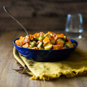 Paleo Maple Roasted Brussels Sprouts, Sweet Potatoes and Bacon
