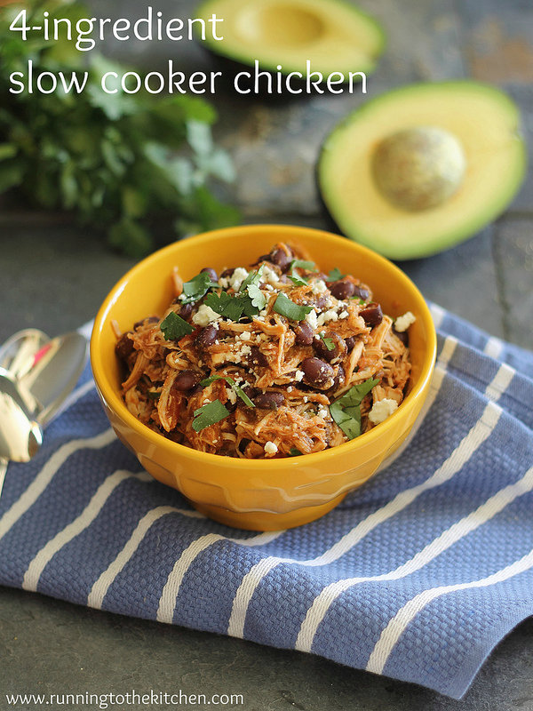 4-ingredient slow cooker pulled chicken