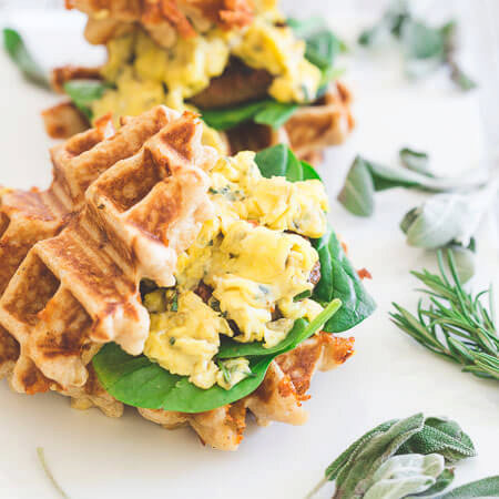 Herbed Cheddar Sausage and Egg Waffle Sandwiches