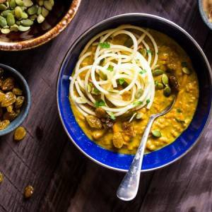 Almond Butter Coconut Curry With Spiralized Sweet Potato and Apple Noodles {Paleo + Vegan}