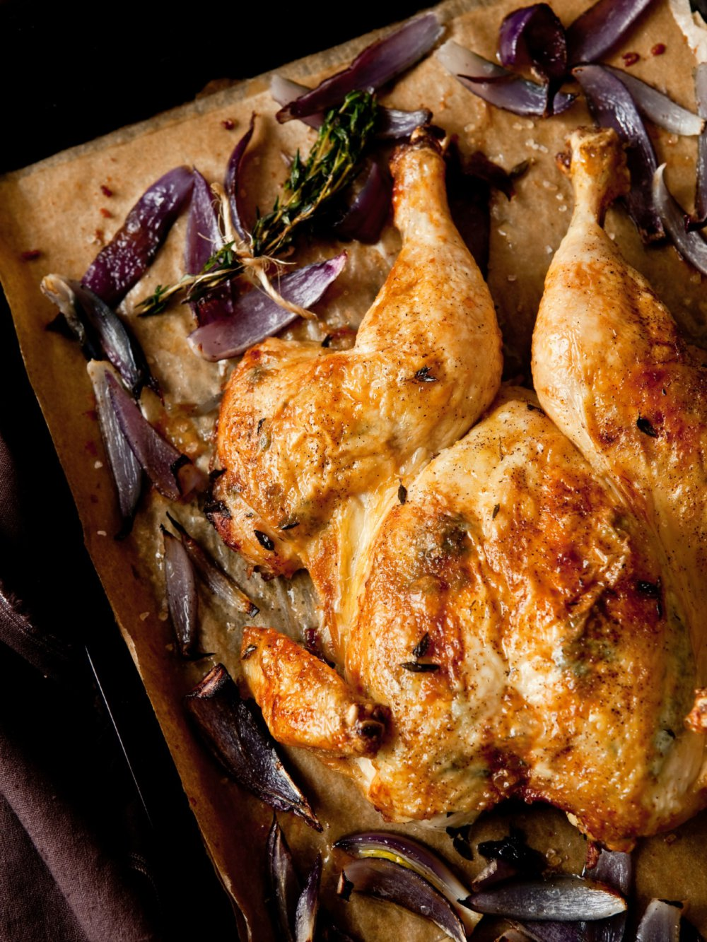 Butterflied Roast Chicken with Red Onions