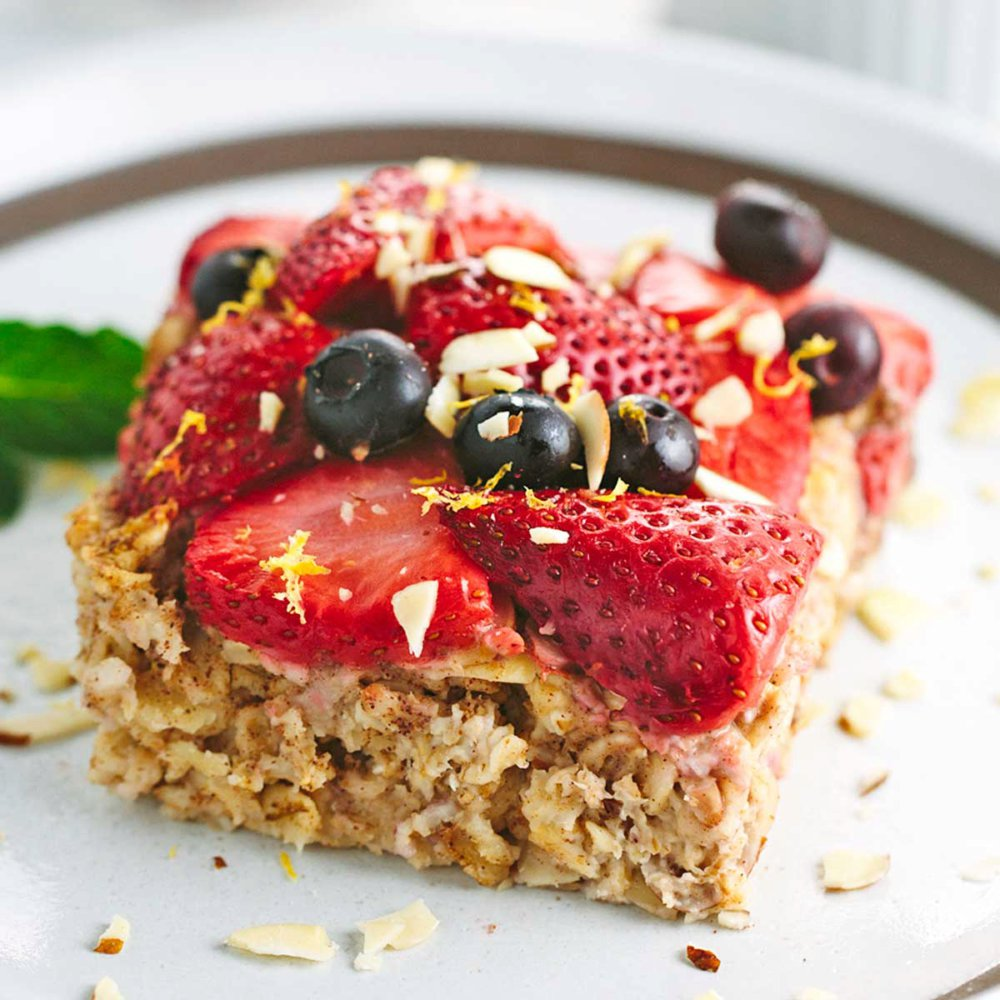 Baked Almond Oatmeal with Berry Topping