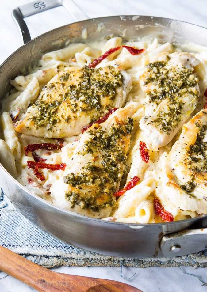 Basil Pesto Chicken with Alfredo Penne and Sun Dried Tomatoes