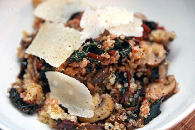 Dinner Tonight: Quinoa with Chard and Mushrooms