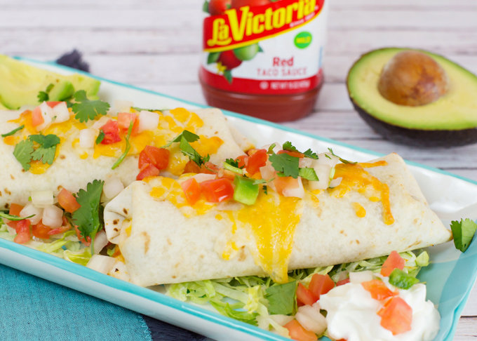 Beef and Bean Baked Burritos