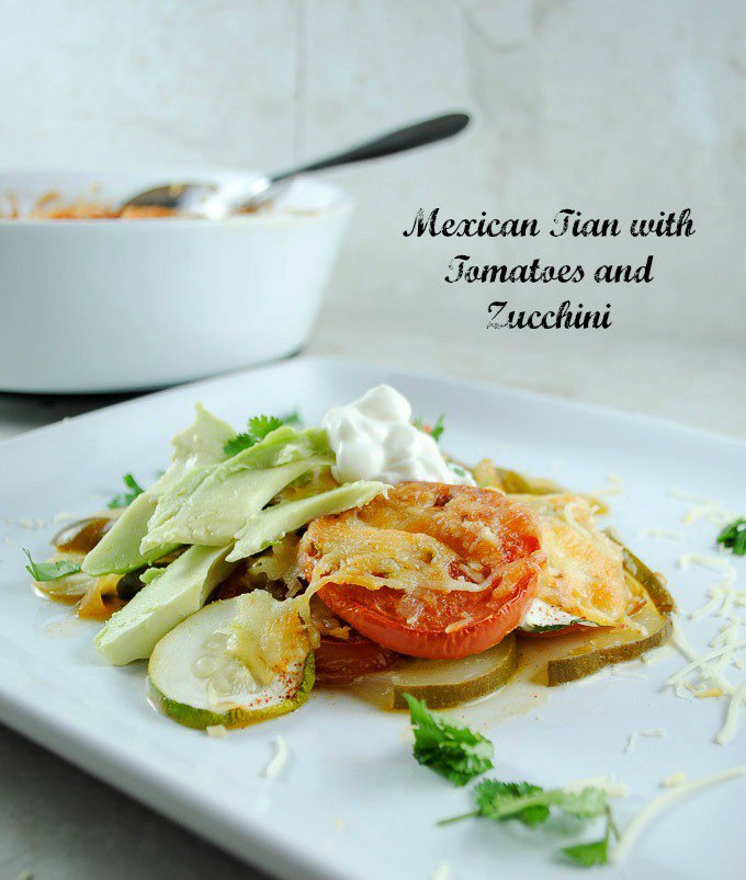 Mexican Vegetable Casserole (Tian) with Tomatoes and Zucchini