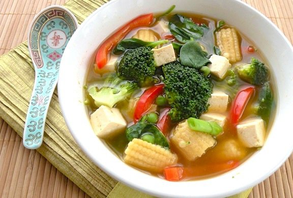 Colorful Asian-Style Vegetable Tofu Soup