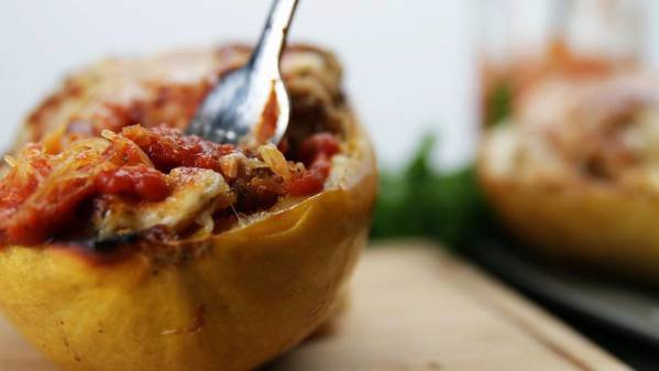 Chicken Parm Stuffed Spaghetti Squash