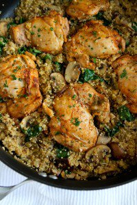 One-Pot Chicken, Quinoa, Mushrooms & Spinach Recipe