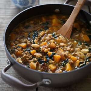 Spiced Pork, Squash and White Bean Soup