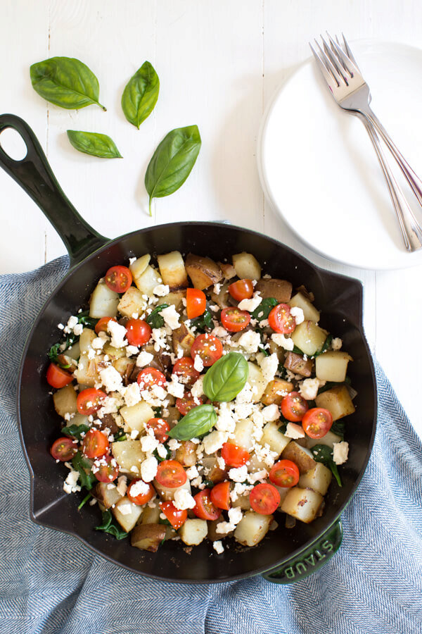 Breakfast Potatoes with Spinach, Tomatoes and Feta