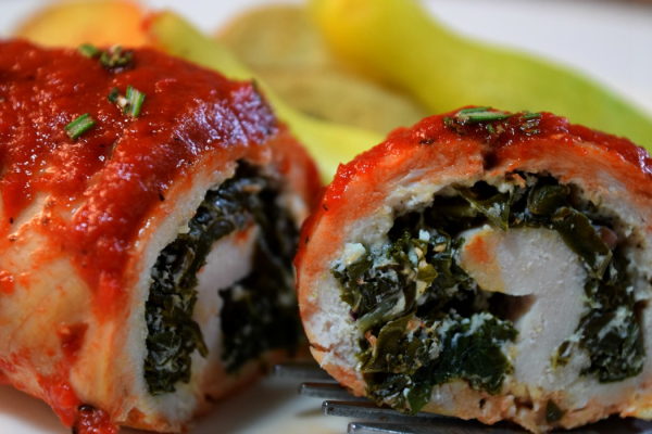 Curly Kale & Goat Cheese Stuffed Chicken w/Roasted Red Pepper Puree