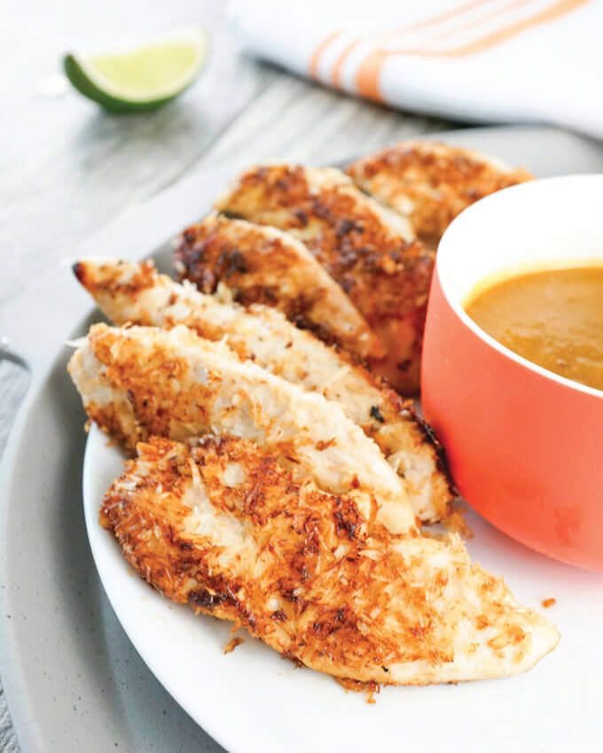 Coconut-Crusted Chicken Tenders with Pineapple Dipping Sauce