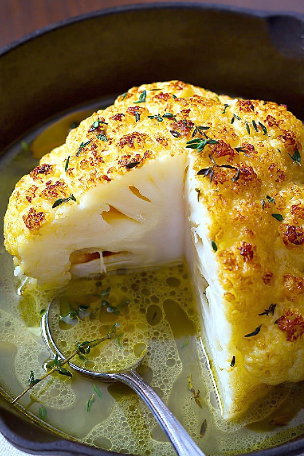 Whole Roasted Cauliflower With Butter Sauce