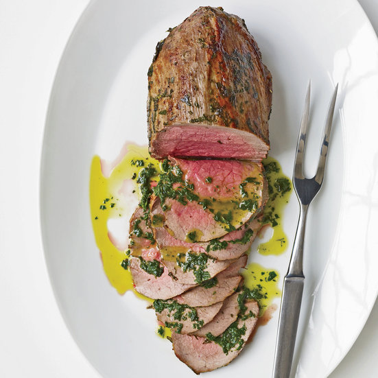 Rare Roast Beef with Fresh Herbs and Basil Oil                              Patricia Wells