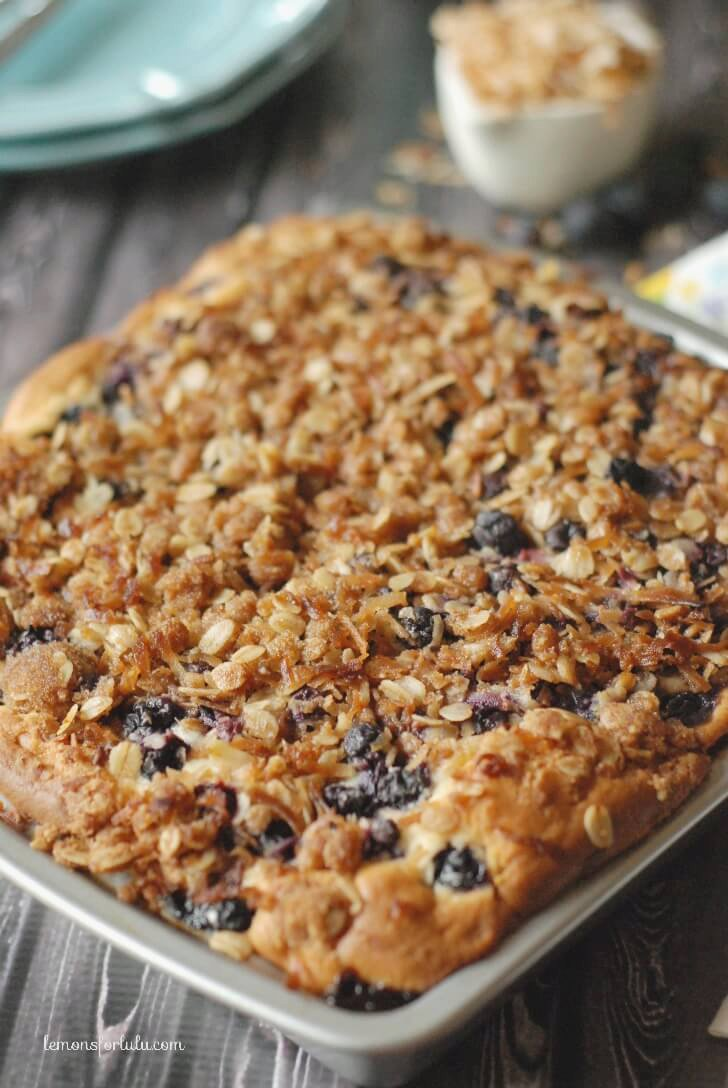 Blueberry Coffee Cake with Coconut Streusel