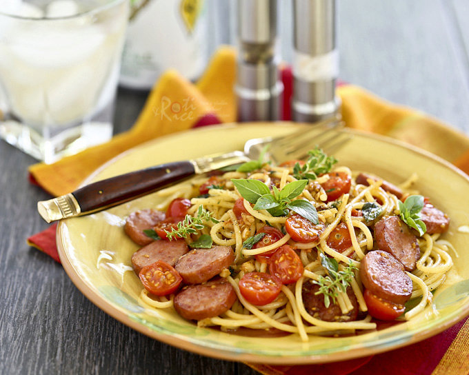 Pasta with Fresh Herbs, Sausage, and Tomatoes