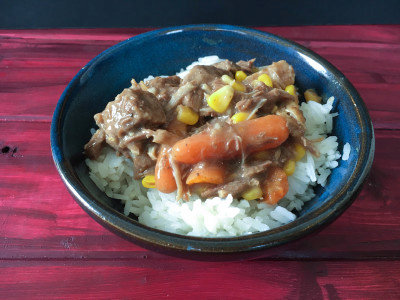 Pressure Cooker Beef Stew Over Rice