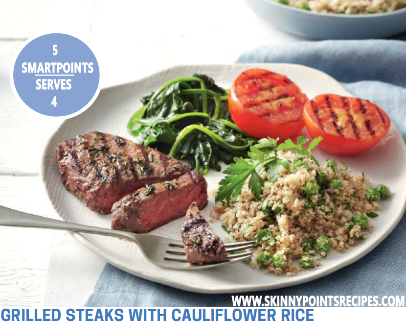Grilled Steaks With Cauliflower Rice
