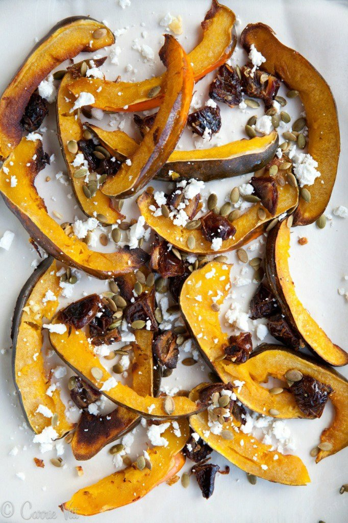 Roasted Acorn Squash with Dates, Pumpkin Seeds and Goat Cheese