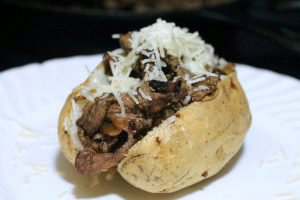 Philly Cheesesteak Loaded Baked Potato