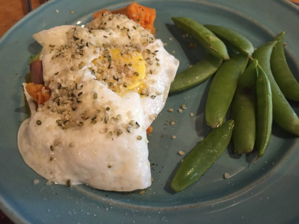 Baked Sweet Potato with Over Easy Eggs