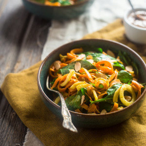 Vegan and Whole 30 Sweet Potato Noodle and Apple Spinach Salad with Almond Dijon Vinaigrette