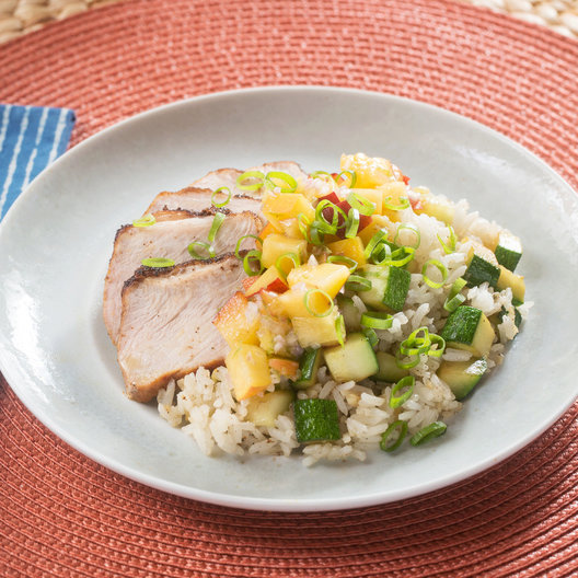 Roasted Pork & Summer Salsa with Zucchini-Scallion Rice
