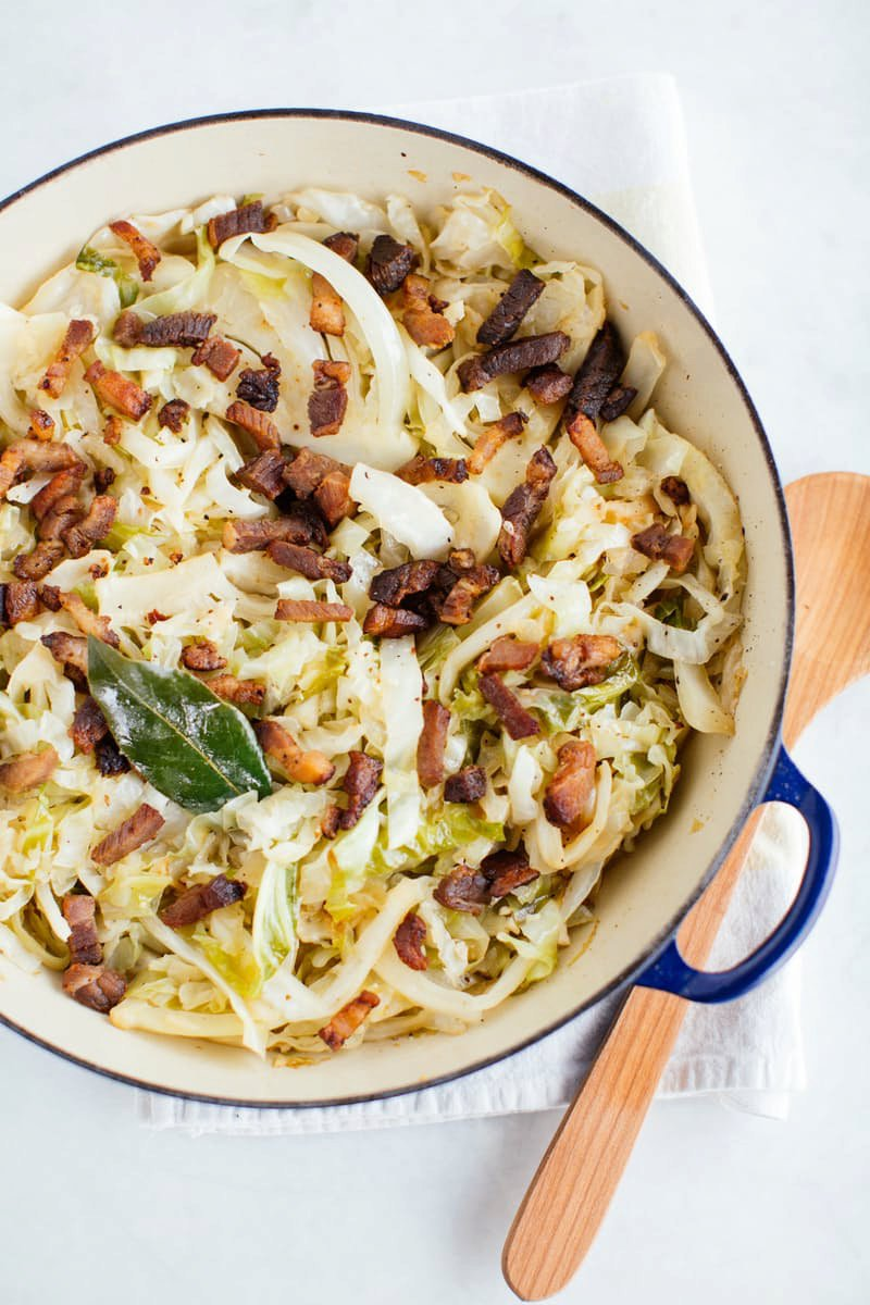 One-Pot Braised Cabbage with Bacon