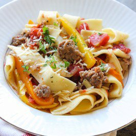 Italian Sausage, Peppers and Noodles