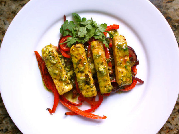 Citrus-Marinated Tofu with Onions and Peppers Recipe
