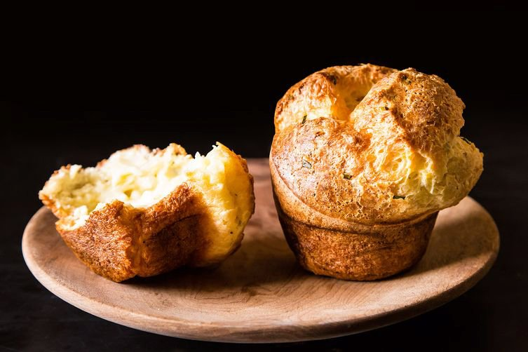 Black Pepper Popovers with Chives andParmesan