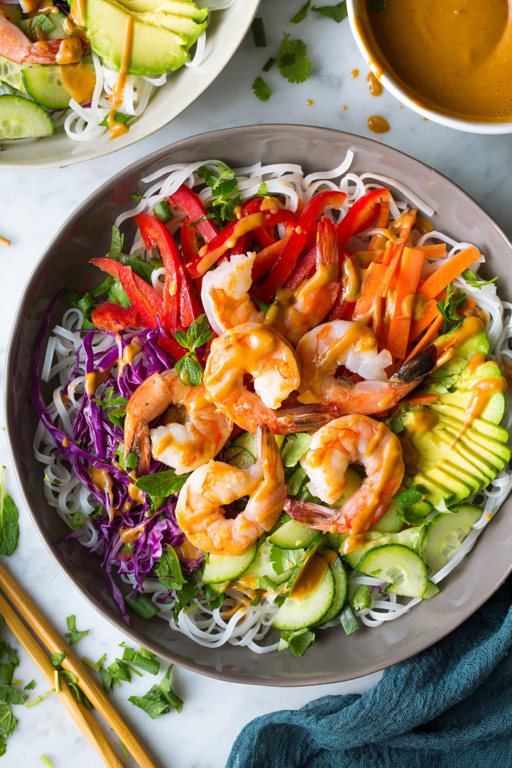 Rainbow Spring Roll Bowls Shrimp or Chicken and Peanut Sauce
