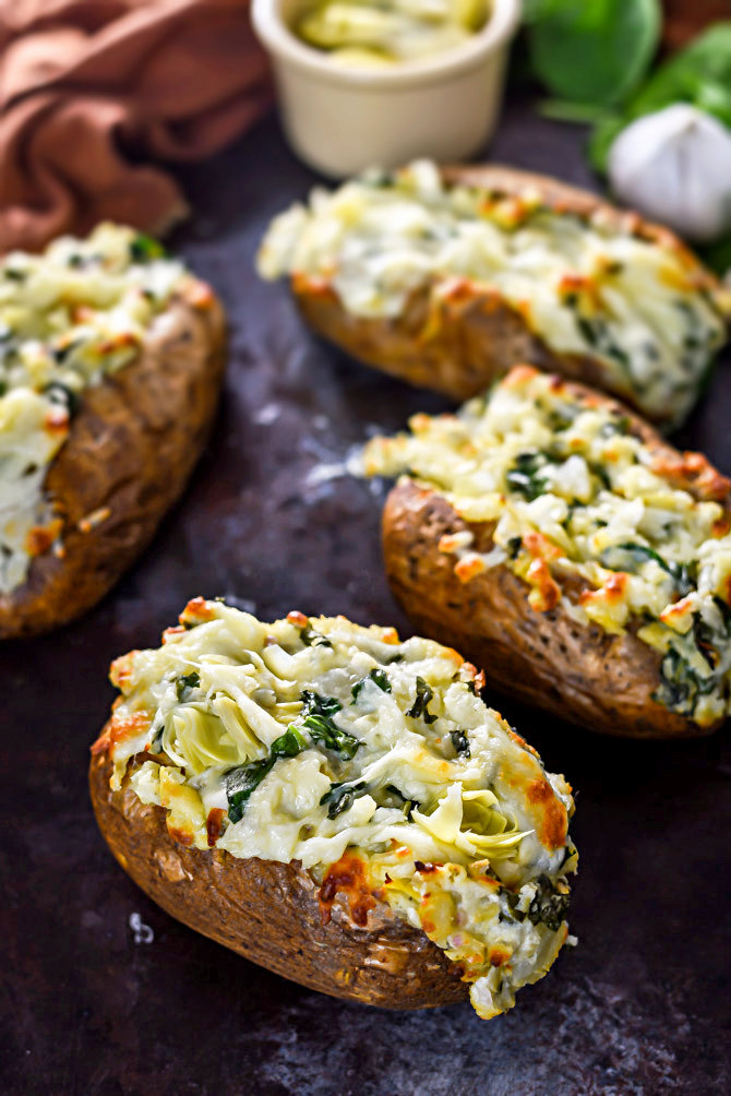 Spinach and Artichoke Dip Baked Potatoes