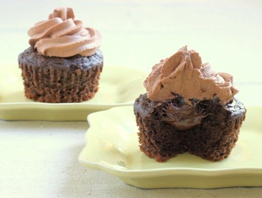 Triple chocolate cupcakes with nutella
