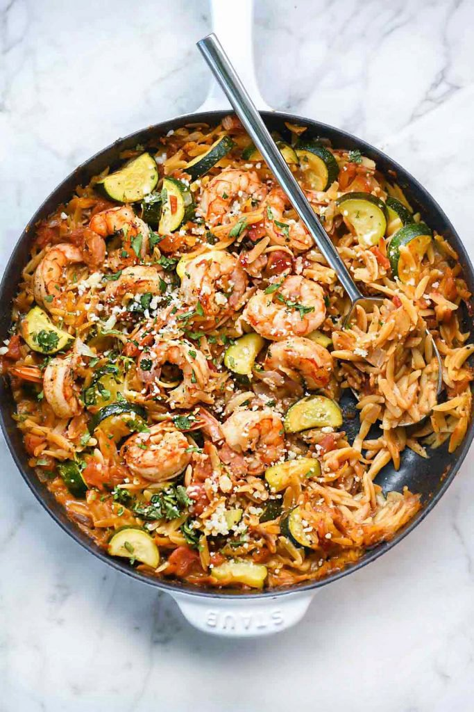 One-Pot Mexican Shrimp with Orzo and Zucchini