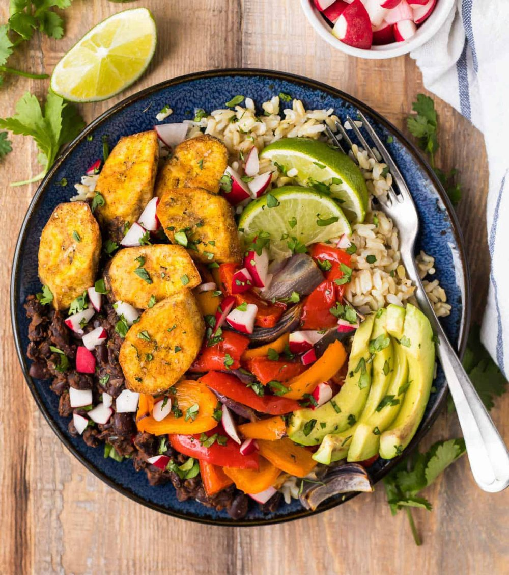 Cuban Black Beans and Rice with Roasted Peppers and Plantains