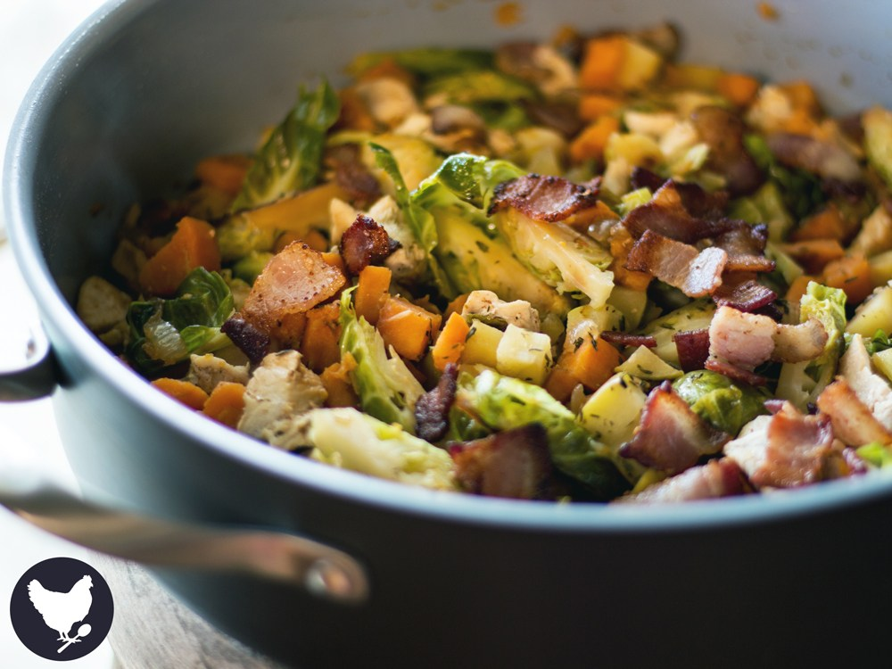 Chicken & Brussels Sprouts Skillet Supper
