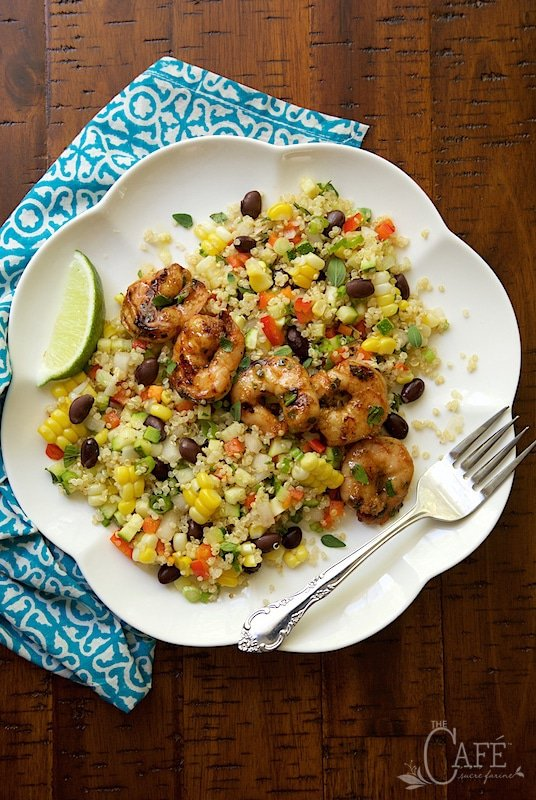Chopped Mexican Quinoa Salad with Chili Lime Shrimp
