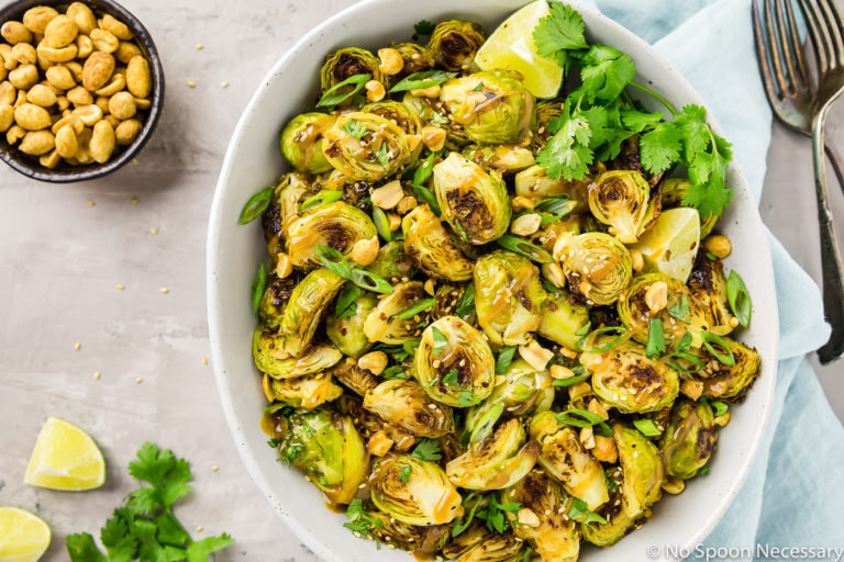 Roasted Asian Brussel Sprouts Recipe with Peanut Sauce