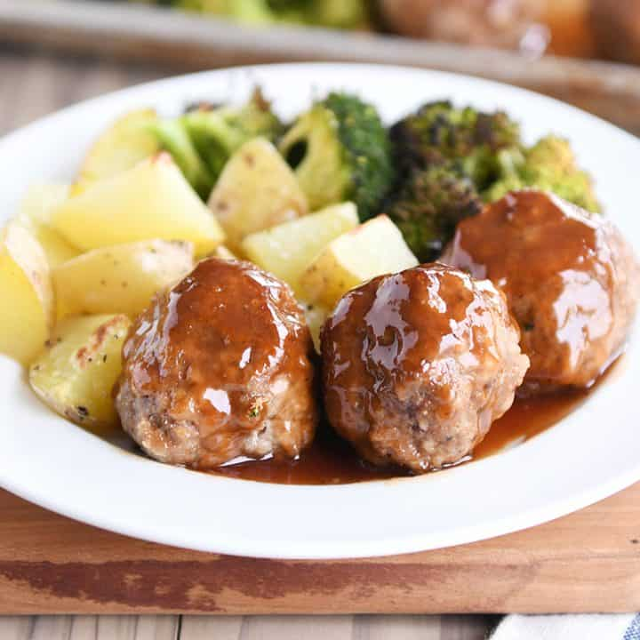 Sheet Pan Sweet and Sour Meatballs with Roasted Potatoes and Broccoli