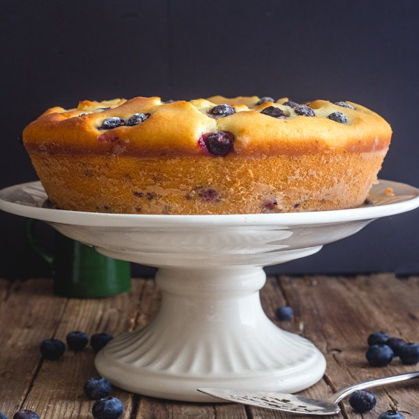 Easy Blueberry Cake with a Vanilla Glaze