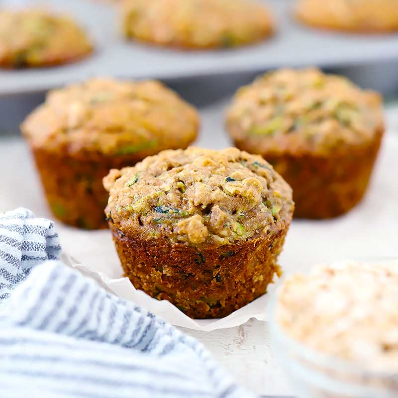 Healthy Zucchini Muffins (made with Olive Oil and Whole Grains)
